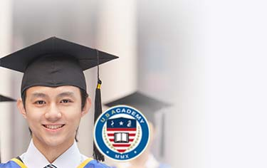 USAcademy logo and graduating student
